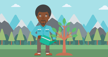 An african-american man watering a tree on the background with mountain vector flat design illustration. Horizontal layout.