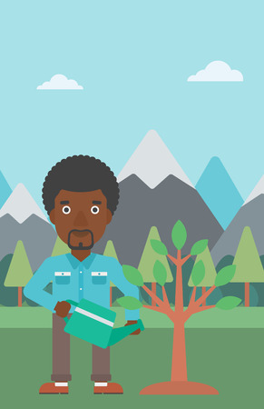 An african-american man watering a tree on the background with mountain vector flat design illustration. Vertical layout.