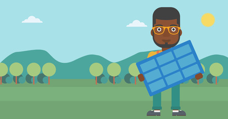 An african-american man holding a solar panel in hands on the background of mountain landscape vector flat design illustration. Horizontal layout.