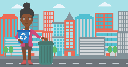 An african-american woman standing with a recycle bin in hand and another bin on the ground on a city background vector flat design illustration. Horizontal layout. Illustration