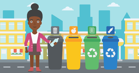 An african-american woman standing near four bins and throwing a plastic bottle in an appropriate bin on a city background vector flat design illustration. Horizontal layout.