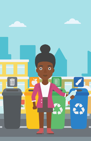 An african-american woman standing near four bins and throwing a plastic bottle in an appropriate bin on a city background vector flat design illustration. Vertical layout.