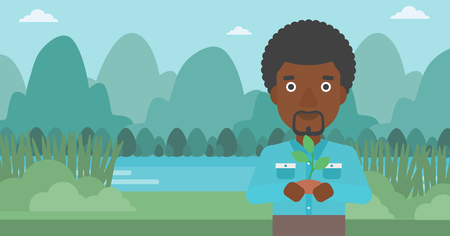 An african-american man holding in hands a small plant in soil on the background of landscape with mountains and river vector flat design illustration. Horizontal layout.