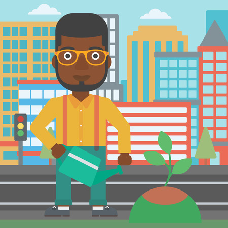 An african-american man watering a tree on a city background vector flat design illustration. Square layout.