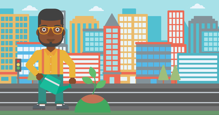 An african-american man watering a tree on a city background vector flat design illustration. Horizontal layout.