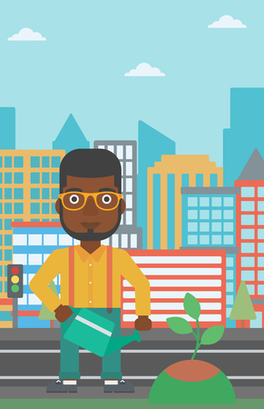 An african-american man watering a tree on a city background vector flat design illustration. Vertical layout.