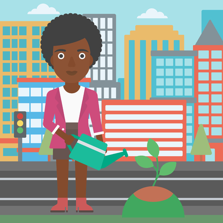 An african-american woman watering a tree on a city background vector flat design illustration. Square layout. Illusztráció