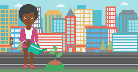 An african-american woman watering a tree on a city background vector flat design illustration. Horizontal layout.