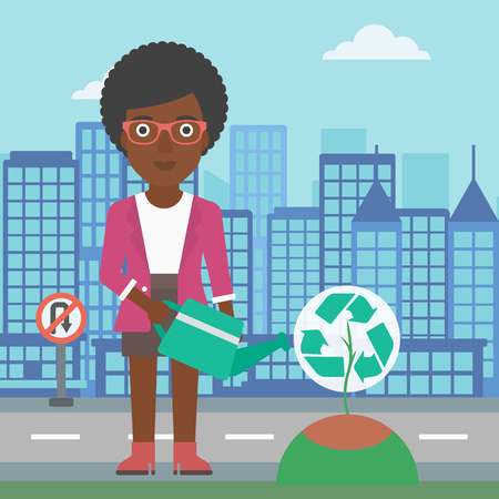 An african-american woman watering a tree with a recycle sign instead of crown on a city backround vector flat design illustration. Square layout.
