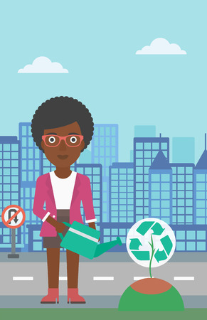 An african-american woman watering a tree with a recycle sign instead of crown on a city backround vector flat design illustration. Vertical layout.