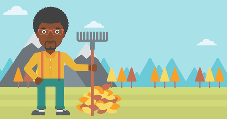 An african-american man with rake standing near heap of autumn leaves on the background of mountain landscape vector flat design illustration. Horizontal layout. Ilustração