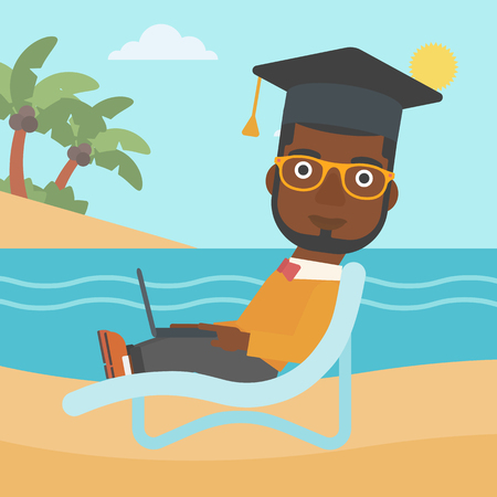 vacation with laptop: An african-american man in graduation cap lying in chaise long with laptop on the beach vector flat design illustration. Square layout.