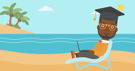 An african-american man in graduation cap lying in chaise long with laptop on the beach vector flat design illustration. Horizontal layout.