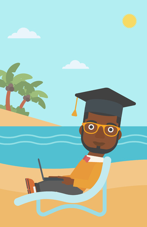 An african-american man in graduation cap lying in chaise long with laptop on the beach vector flat design illustration. Vertical layout. Illustration