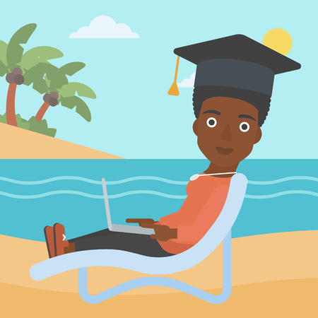 vacation with laptop: An african-american woman in graduation cap lying in chaise long with laptop on the beach vector flat design illustration. Square layout.