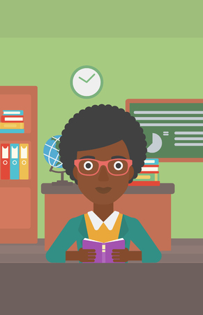 An african-american woman reading a book on the background of classroom vector flat design illustration. Vertical layout.