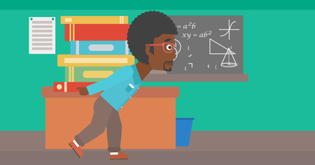An african-american man carrying a pile of books on his back on the background of classroom vector flat design illustration. Horizontal layout.