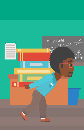 An african-american man carrying a pile of books on his back on the background of classroom vector flat design illustration. Vertical layout.