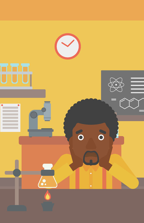 An african-american man clutching his head on the background of chemistry class vector flat design illustration. Vertical layout. Illustration