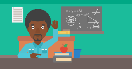 An african-american man raising his hand while sitting at the table on the background of classroom vector flat design illustration. Horizontal layout. 向量圖像
