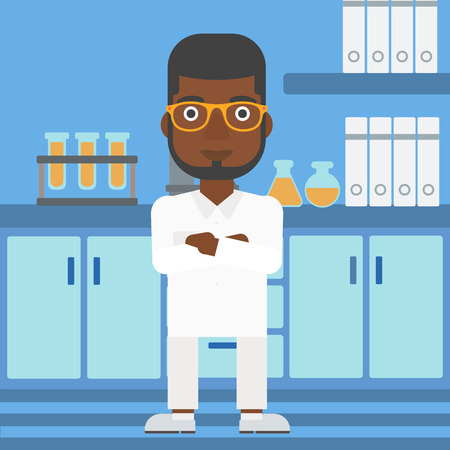 An african-american man standing on the background of laboratory vector flat design illustration. Square layout. Illusztráció