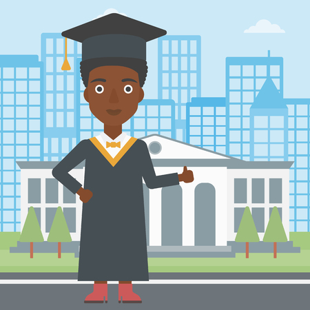 マントと帽子の教育の背景にサインを親指を示すアフリカ系アメリカ人女性は建物ベクトル平らな設計図です。正方形のレイアウト。