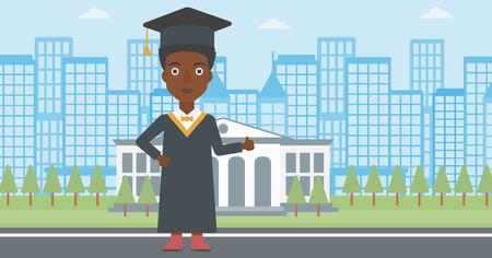 マントと帽子の教育の背景にサインを親指を示すアフリカ系アメリカ人女性は建物ベクトル平らな設計図です。水平方向のレイアウト。