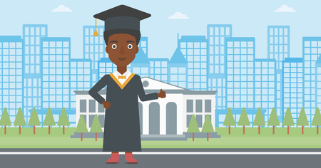 An african-american woman in cloak and hat showing thumb up sign on the background of educational building vector flat design illustration. Horizontal layout. Illustration