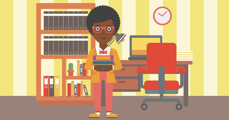 An african-american woman holding pile of books on the background of room  vector flat design illustration. Horizontal layout.