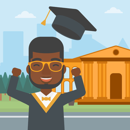 An african-american man throwing up his hat on the background of educational building vector flat design illustration. Square layout. Illustration