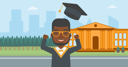 An african-american man throwing up his hat on the background of educational building vector flat design illustration. Horizontal layout. Illustration