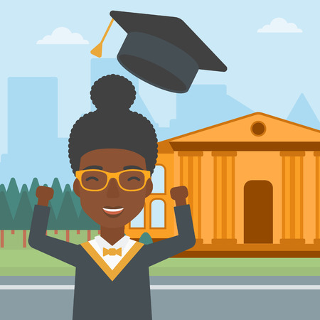 An african-american woman throwing up her hat on the background of educational building vector flat design illustration. Square layout. Illustration