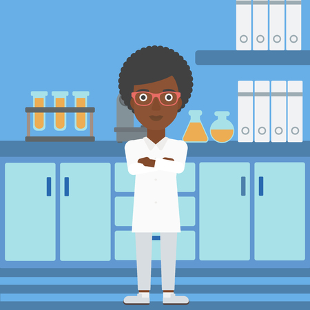 An african-american woman standing on the background of laboratory vector flat design illustration. Square layout.