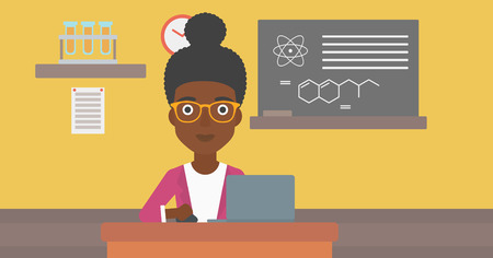 An african-american woman sitting at the table and working on a laptop on the background of chemistry class vector flat design illustration. Horizontal layout. Illustration