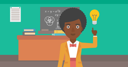 An african-american woman pointing a finger at the light bulb on the background of classroom vector flat design illustration. Horizontal layout. Illustration