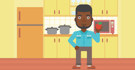 An african-american man holding an apple on the background of kitchen vector flat design illustration. Horizontal layout.