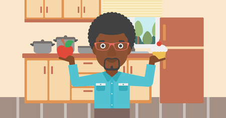 An african-american man standing in the kitchen with apple and cake in hands symbolizing choice between healthy and unhealthy food vector flat design illustration. Horizontal layout. Illustration