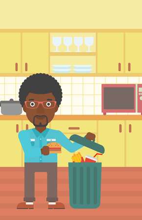 An african-american man putting junk food into a trash bin on the background of kitchen vector flat design illustration. Vertical layout.