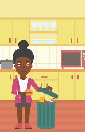 An african-american woman putting junk food into a trash bin on the background of kitchen vector flat design illustration. Vertical layout.