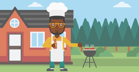 An african-american man standing next to barbecue grill in the yard in front of house and holding a bottle in hand and showing thumb up vector flat design illustration. Horizontal layout.