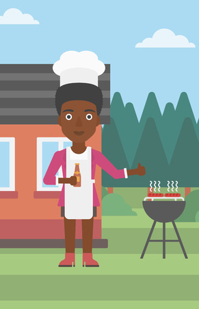 An african-american woman standing next to barbecue grill in the yard in front of house and holding a bottle in hand and showing thumb up vector flat design illustration. Vertical layout. Иллюстрация