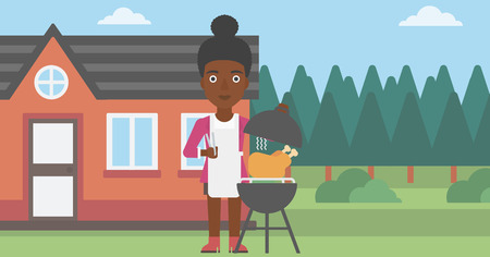 An african-american woman cooking chicken on barbecue in the yard in front of house vector flat design illustration. Horizontal layout.