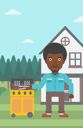 An african-american man preparing barbecue in the yard in front of house vector flat design illustration. Vertical layout. Illustration