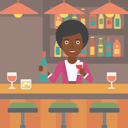 An african-american bartender standing at the bar counter and holding a bottle and a glass in hands vector flat design illustration. Square layout.
