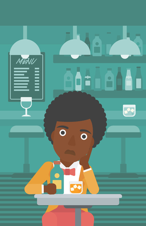 An african-american sad woman sitting at the table with a bottle and a glass at the bar vector flat design illustration. Vertical layout. Illustration