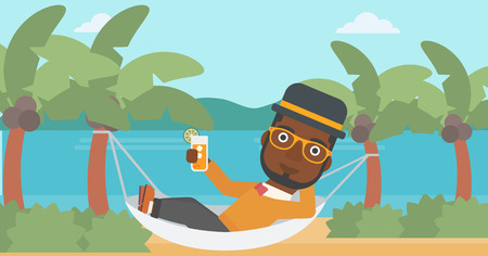 An african-american man chilling in hammock on the beach with a cocktail in a hand vector flat design illustration. Horizontal layout.