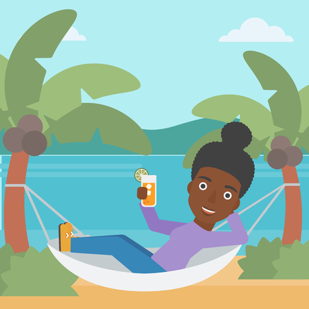 An african-american woman chilling in hammock on the beach with a cocktail in a hand vector flat design illustration. Square layout. Illustration