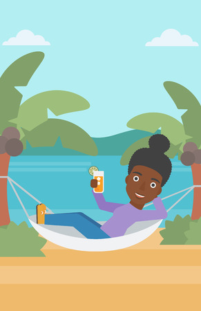 An african-american woman chilling in hammock on the beach with a cocktail in a hand vector flat design illustration. Vertical layout. Vettoriali