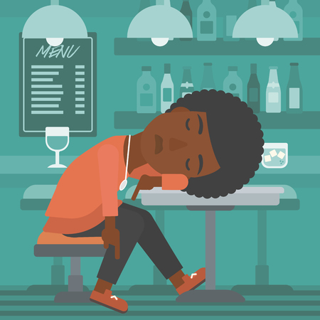An african-american woman sleeping at the bar at the table vector flat design illustration. Square layout.