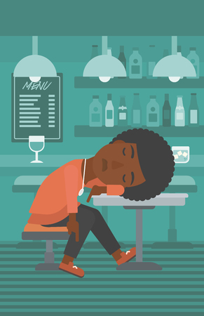 An african-american woman sleeping at the bar at the table vector flat design illustration. Vertical layout.